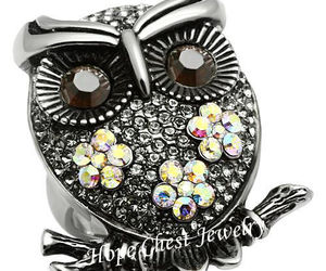 WOMEN'S STAINLESS STEEL CRYSTAL OWL BIRD COCKTAIL FASHION RING SIZE 7, an item from the 'Owl wear that' hand-picked list