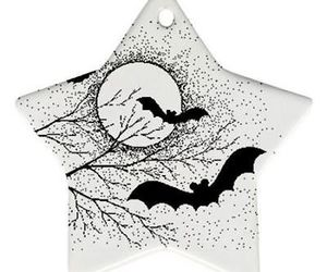 Halloween Bats Full Moon Trees Star Shaped Porcelain Christmas Ornament, an item from the 'Cute Bats and Black Cats' hand-picked list