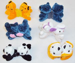 Plush Animal Hair Clips w/Plastic Combs ~ Six Pairs Assorted Characters, an item from the 'Playing with hair' hand-picked list