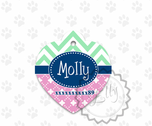 Metal pet tag ID, heart shaped chevron and pink colored dog tag, steel tags, an item from the 'Love Dogs?' hand-picked list