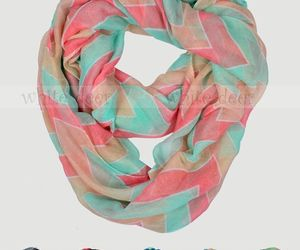 Wide Chevron Print Spring Infinity Scarf Block Circle Loop Wrap 3 Color Soft, an item from the 'To Infinity (Scarf) and Beyond' hand-picked list