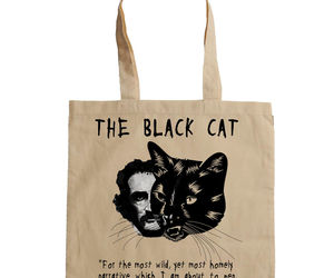 EDGAR ALLAN POE THE BLACK CAT - NEW AMAZING GRAPHIC HAND BAG/TOTE BAG, an item from the 'Cute Bats and Black Cats' hand-picked list