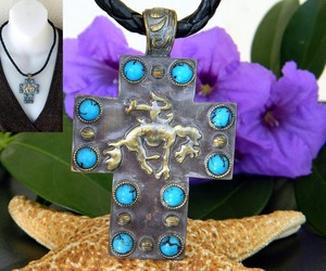 Bucking Bronco Horse Cross Pendant Necklace Turquoise Magnetic Slide, an item from the 'Stuck On You....' hand-picked list