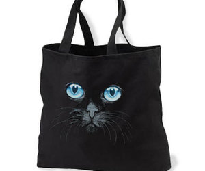 Black Cat Blue Eyes New Black Tote Bag, Unique, an item from the 'Cute Bats and Black Cats' hand-picked list