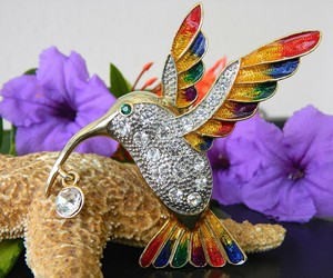 Hummingbird Bird Brooch Pin Rhinestones Enamel Large Colorful Goldtone, an item from the 'Community Picks: Spring has sprung' hand-picked list