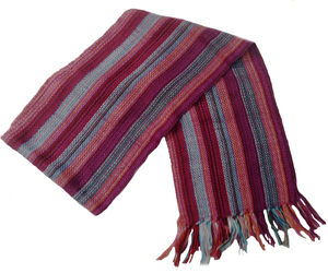 "Alpakaandmore Unisex 100% Red Alpaca Wool Scarf, Shawl Stripes 63""x 4.72"", an item from the 'Hay(ride) Fever' hand-picked list"