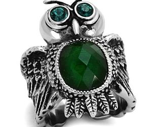 Women's 12,10 MM Oval Emerald Synthetic Glass Animal Owl Ring, Size 5-9, an item from the 'Owl wear that' hand-picked list