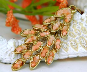 Vintage Pink Coral Chips Nuggets Leaf Pendant Salmon Articulated, an item from the 'Community Picks: Just Peachy' hand-picked list