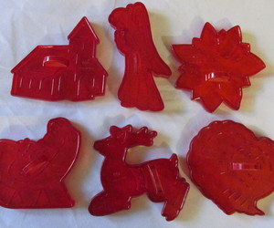 Vintage Red Plastic Christmas Cookie Cutters-Santa in Sleigh, Angel, Turkey..., an item from the 'Holiday Cookies & Cooking' hand-picked list