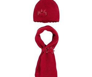 Mayoral Little Girls Flower Applique Angora Blend Knit Hat/Scarf Set, 050-Sca..., an item from the 'Kids Hats, Mittens, and Scarves' hand-picked list