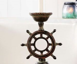 "12.2"" Nautical Ship Wheel Tapered Candlestick Holder Poly Resin, an item from the 'Community Picks: Nautical Isle of Paradise' hand-picked list"
