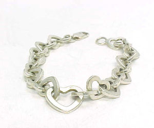 Italian HEART Link STERLING Silver BRACELET - 7 inches long - FREE SHIPPING, an item from the 'Valentine HEARTS' hand-picked list