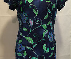 Rabbit Rabbiit Rabbit Blue Green Floral Spring Summer A Line Dress 10P Petite, an item from the 'Green is the Color of Spring and St Patty's Day' hand-picked list