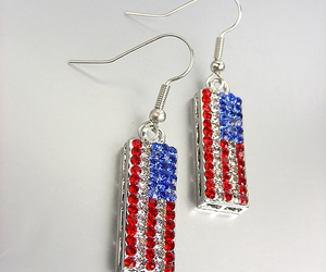 Silver Red White Blue Swarovski Crystals Patriotic USA American Flag Earrings, an item from the 'Flag Focused' hand-picked list