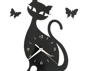 Quartz Wall Clock Living Room Creative Cute Black Cat   black acrylic, an item from the 'Cute Bats and Black Cats' hand-picked list