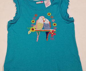 MUDD GIRLS MEDIUM 10 12 SHIRT PAIR OF EMBROIDERED PARAKEET LOVE BIRDS BLUE TOP, an item from the 'Birds of a Feather....' hand-picked list