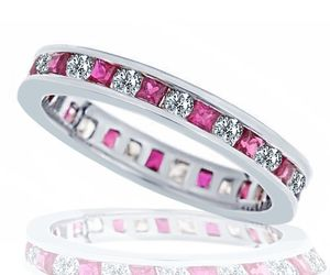 1.30ct Womens Diamond Ruby Eternity Wedding Anniversary Band Ring 14k White Gold, an item from the 'The Sweetest Ring' hand-picked list