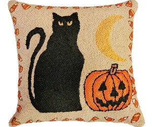 Black Cat & Pumpkin Decorative Pillow, an item from the 'Cute Bats and Black Cats' hand-picked list
