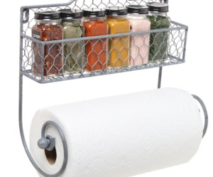 Wall Mounted Rustic Metal Wire Kitchen Spice Rack Paper TowelHolder Organization, an item from the 'The Spice is Right' hand-picked list