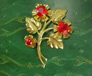Vintage Unsigned beauty Brooch HUGE pin red rhinestones with flowers and leaves , an item from the 'Vintage Christmas Bling' hand-picked list