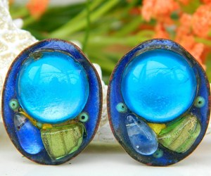 Vintage Andree Bazot Modernist Paris France Enamel Earrings, an item from the 'Vintage Earrings are Back' hand-picked list
