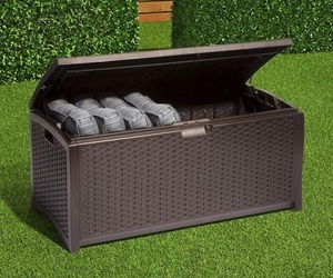 Storage Deck Box Outdoor Patio Pool Backyard Garden Furniture Bench Wicker Resin, an item from the 'Outdoor Oasis' hand-picked list