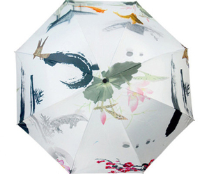 Ink and Wash Vinyl Sunscreen Umbrella    moonlight in lotus pool, an item from the 'Community Picks: April Showers...' hand-picked list