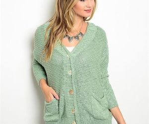 Sage Green 2 Pocket Cardigan Sweater w/ Black Netting Sz Small, an item from the 'Hay(ride) Fever' hand-picked list