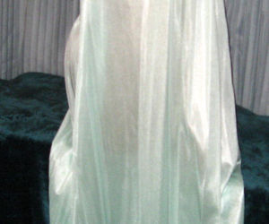 Pale Mint Green Embroidery Nylon Long Nightgown S, an item from the 'MINT CONDITION ' hand-picked list