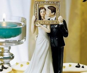 """""""Picture Perfect"""" Couple Cake Topper Couple Cute Unique HAIR COLOR CUSTOMIZATION, an item from the 'A Reception to Remember' hand-picked list"""