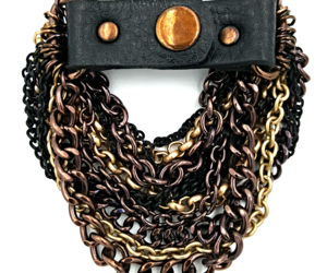 Leather and Chains Bracelet with Biker Chic or Bohemian Style , an item from the 'Fabulous Fall Fashions' hand-picked list