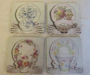Coasters / Fridge Magnets - Pictures of  English Bone China Cup & Saucer Sets , an item from the 'Stuck On You....' hand-picked list