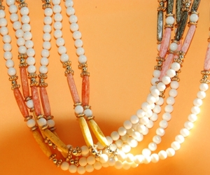 Vintage 6 strand bead necklace - bone color, peach, apricot - ethnic style, hand, an item from the 'Community Picks: Just Peachy' hand-picked list