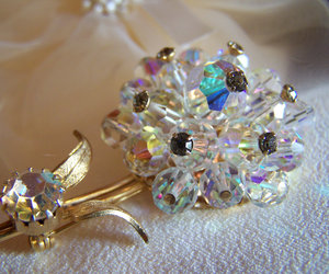 Alice Caviness Aurora Borealis Crystal Bead Flower Brooch Vintage Signed, an item from the 'Treat Yourself' hand-picked list