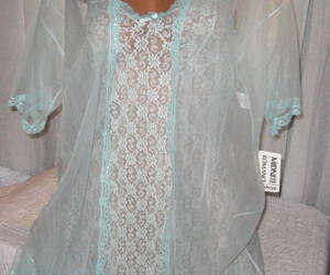 Stretch Lace Chemise and Robe Set S M Short Nightgown Mint Green 2 Piece , an item from the 'MINT CONDITION ' hand-picked list