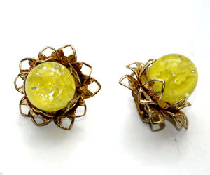 vintage clip earrings yellow lucite cab cabochon flower floral, an item from the 'Vintage Earrings are Back' hand-picked list
