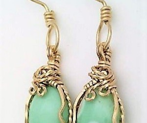 Variscite Gold Wire Wrap Earrings 10, an item from the 'Treat Yourself' hand-picked list