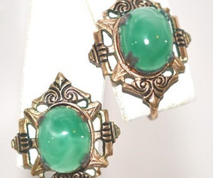 Vintage Faux Jade Damascene Screw Back Earrings, an item from the 'Vintage Christmas Bling' hand-picked list