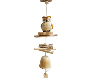 Wood and Ceramic Owl Wind Chime, an item from the 'No Place Like Home' hand-picked list