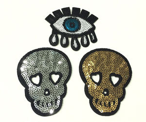 "3"" Silver Sequin Gold Dress Fabric Skull Tear Eye Embroidered Iron On Patch New, an item from the 'Supernatural Woman' hand-picked list"