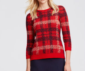 Ann Taylor Plaid Jacquard Sweater, 3/4 Sleeves, Wool Blend, Red, Size M, NWT, an item from the 'Fuzzy Feels' hand-picked list