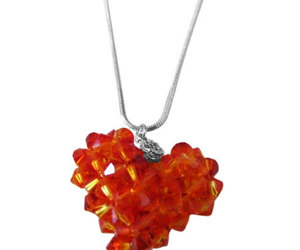 Fire Opal Swarovski Crystals Autumn 3D Puffy Heart Pendant Necklace , an item from the 'Autumn Spirit' hand-picked list