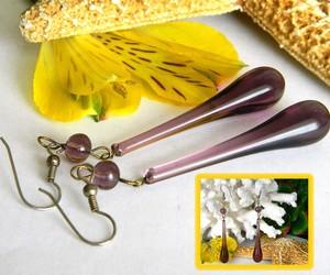 Vintage Hand Blown Glass Earrings Teardrop Lavender Purple Pierced , an item from the 'I'm Blown Away..' hand-picked list