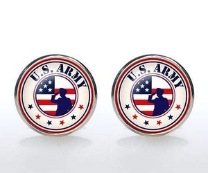 Cufflinks US ARMY  Silver Plated Glass CUFF LINKS Military Veteran Memorial day, an item from the 'Memorial Day - A Time to Remember' hand-picked list