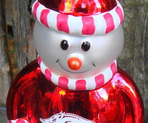 Arkansas Razorbacks Snowman Christmas Ornament Glass, an item from the 'Santas & Snowmen' hand-picked list