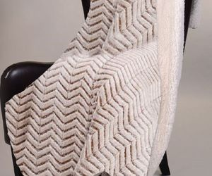 """BEIGE CHEVRON ZIGZAG CUTWORK Sherpa Luxury Throw Light Weight Blanket 50"""" x 70"""", an item from the 'Quilts and Throws' hand-picked list"""