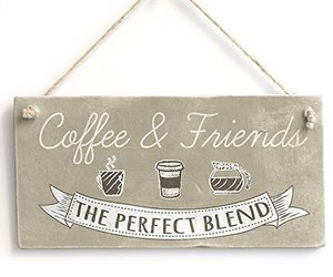 "Meijiafei Coffee & Friends - Retro Kitchen Sign/ Plaque Friendship Gift 10""x5"", an item from the 'Tokens of Friendship' hand-picked list"