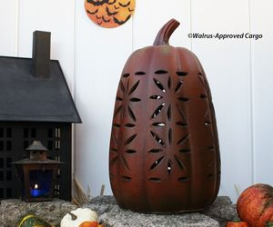 POTTERY BARN TERRACOTTA PIERCED PUMPKIN (TALL) -NIB- CARVE OUT SOME FALL CHIC!, an item from the 'Pumpkin Patch' hand-picked list