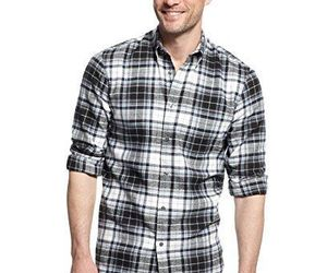 John Ashford Men's Deep Black Ivory Blue PLaid Flannel Button Front Shirt New, an item from the 'Mad for Plaid' hand-picked list