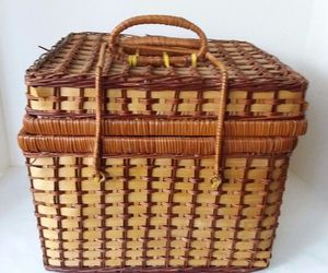 4 Person Set Wicker Hamper Picnic Basket With Flatware Plates Cups, an item from the ' Pic·nick·ing' hand-picked list